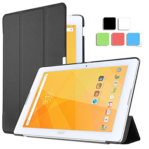 ELTD Acer Iconia One 10 B3-A20 cover, Ultra-slim Custodia Cover in pelle PU per Acer Iconia One 10 B3-A20 con il sonno / sveglia la funzione, Nero