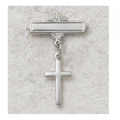Sterling Silver CROSS BABY PIN great baptism christening gift baby badge baptism keepsake