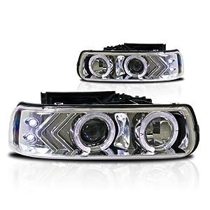 99-02 Chevy Silverado Halo Projector Head Lights Chrome Housing / Clear Lens Pair