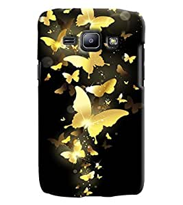 Blue Throat Gold Butterfly Printed Designer Back Cover/ Case For Samsung Galaxy J1 Ace