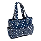 Hobby Gift Polka Dot Design PVC Craft Bag White Spots on Navy (12.5 x 39 x 35cm)
