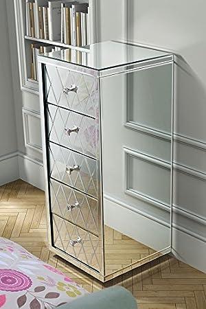 MY-Furniture Comoda alta de espejo con 5 cajones y zocalo - Gama KNIGHTSBRIDGE