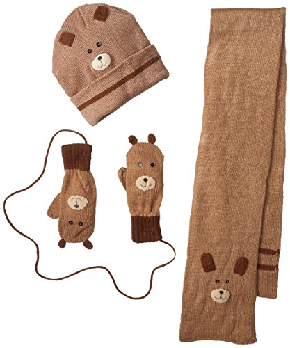Kidorable Little Boys' Bears Hat Scarf Set, Brown, Large