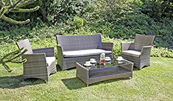 Garten Lounge Gruppe - Tisch - 2 Sessel - Sofa - inkl. Auflagen, Poly-Rattan dunkelgrau
