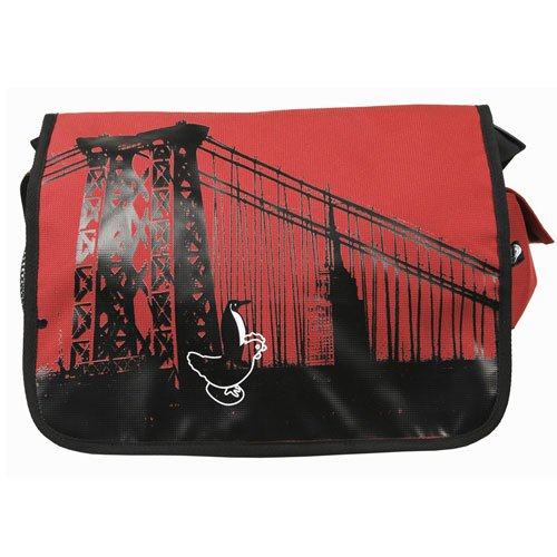 NYC - Red and Black - Messenger Bag great for commuters - students or professionals - light weight - eco friendly 16