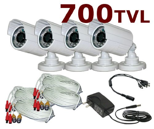 eSecure ESQ15314 Indoor/Outdoor Super-High Resolution IR Bullet Camera 700TV Lines 4-Pack DIY Kit, Premade cable and power adapter included On Sale