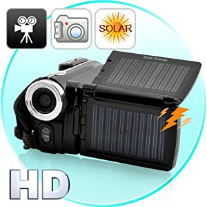 Solar Power Digital HD Video Camera Camcorder with Dual Charge Panels