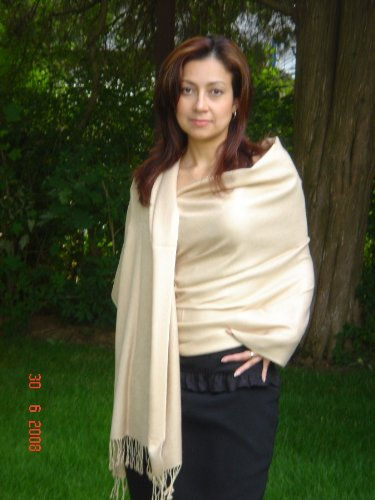 Scarves-Pashmina Stole From Cashmere Pashmina Group In 55 Vibrant Colors (Vanilla) front-704766