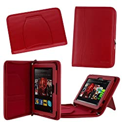 rooCASE Executive Portfolio (Red) Leather Case Cover for Amazon Kindle Fire HD 8.9 Inch Tablet - Support Landscape / Portrait / Auto Sleep and Wake
