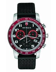 Wenger Men's 70801 Alpine Swiss Rallye Red Bezel Black Rubber Strap Watch