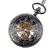 CredDeal Steampunk Pocket Watch Pendant Roman Number Half Hunter-Antiqued Silver Black With Gift Box and Chain PW039