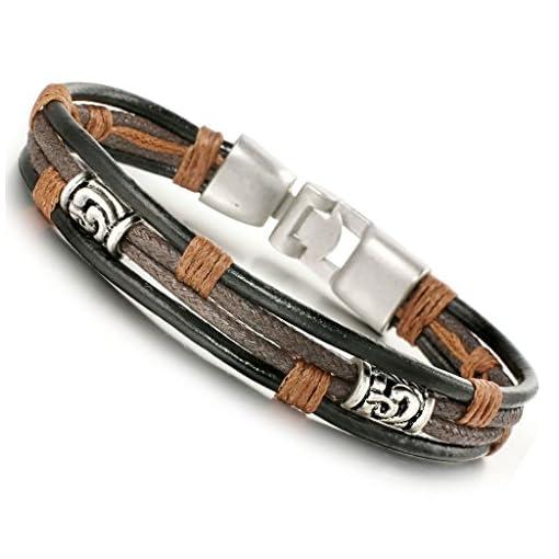 Jstyle-Leder-Armband-Herrenarmreif-Armreif-Armkette-Legierung-fr-Damen-Herren-215cm
