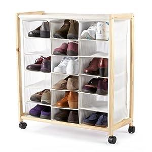 18 pocket rolling canvas shoe bin on wheels space saving
