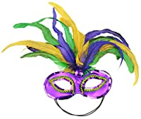 Mask It 48038 Mardi Gras Satin and Feather Half Mask, Mardi Gras by Midwest Design Imports, Inc.