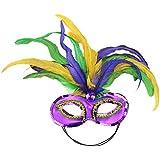 Mask It 48038 Mardi Gras Satin and Feather Half Mask, Mardi Gras