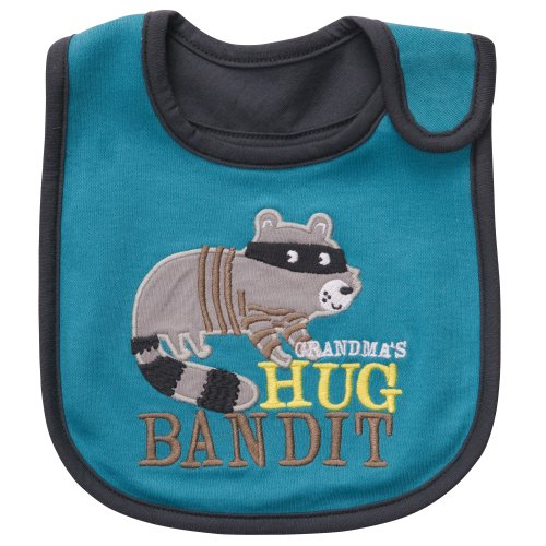 """Carter's """"Grandma's Hug Bandit"""" Raccoon Baby teething/feeding Bib turquoise gray - 1"""