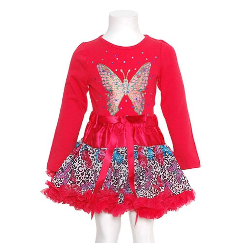 Gigi Red Butterfly 2Pc Baby Girls 24M Top Ruffle Skirt Fall Outfit front-49208