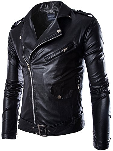 Neleus Men's Classic Leather Motorcycle Jacket with Zip Out Lining