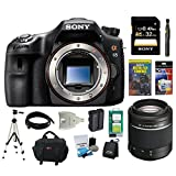 Sony Alpha SLT-A65V 24.3MP Digital SLR with Translucent Mirror Technology (Body Only) + Sony 32GB SDHC + Sony 55-200 Lens + Focus Case + Sony Remote + Mini HDMI Cable + Replacement Battery Pack + Accessory Kit