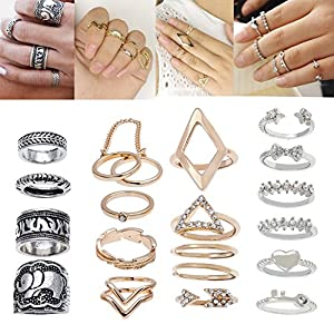 Jewelry Set of 20 Trendy Silver and Golden Colored Finger Rings Including Midi / Knuckles / Stacking Rings In Different Shapes / Designs