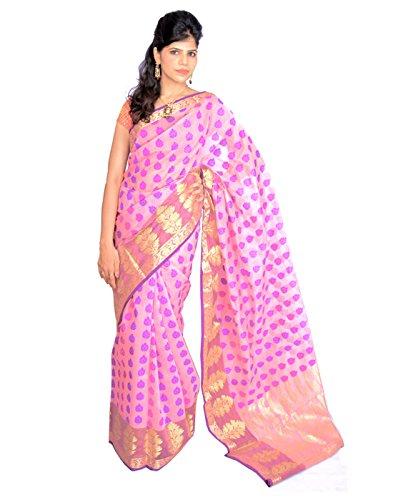 Jagadamba Solid Silk Sari