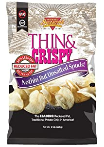 Michael Season's Unsalted Thin & Crispy Potato Chip, 8 Ounce Bags (Pack of 12)