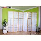 Homestyle4u 6 fach Paravent Raumteiler - Holz Trennwand Shoji in natur Reispapier weiß