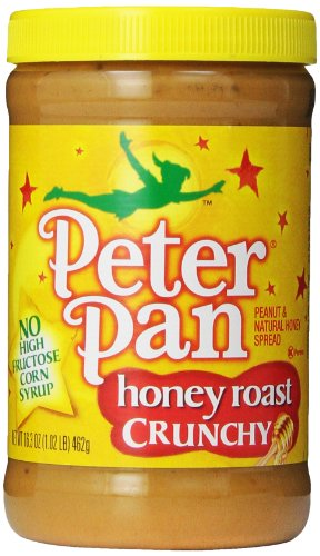 Peter Pan Honey Roast Crunchy Peanut Butter, 16.3-Ounce Plastic Jars (Pack Of 6)