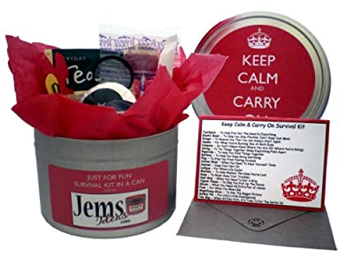Keep Calm & Carry On Survival Kit In A Can. Humorous Novelty Fun Gift - Present & Card All In One. Birthday/Christmas/Retirement/Boss/Work Colleague/Good Luck/Leaving/Mum To Be/Dad To Be/ Baby/ Parents/Father's Day/Mother's Day/Valentine's Day/Graduation/