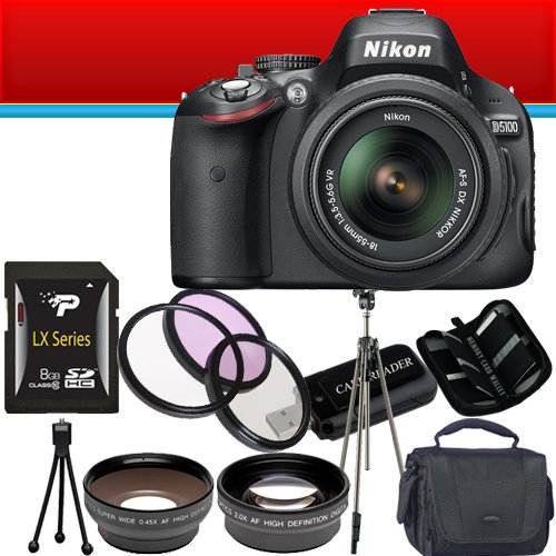 Nikon D5100 16.2MP CMOS Digital SLR Camera with 18-55mm f/3.5-5.6G VR Lens + Wide Angle + Telephoto Lens + Filter Kit + Flash 8GB DavisMAX Bundle