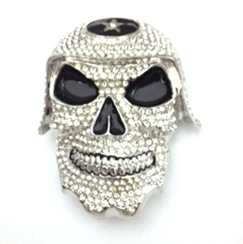 Skull Bling Bling Cool Hip Hot Hop Rhinestone Well Made Halloween Urban Style Belt Buckle.