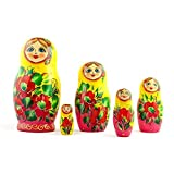 """7"""" Set Of 5 Yellow Scarf And Floral Red Dress Russian Wooden Nesting Dolls"""
