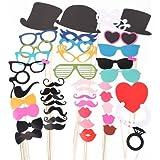 44 Tlg. Party Foto Verkleidung Schnurrbart Lippen Brille H¨¹ten Photo Booth Props Set Hochzeit Partymitbringsel