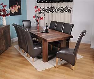 Monanco Chunky Solid Walnut Large Dining Table Set 8