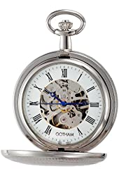 Gotham Men's Silver-Tone Mechanical Pocket Watch with Desktop Stand # GWC14051S-ST
