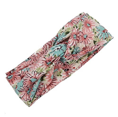 Flower Printing Women Yoga Sports Sweatband Headband Elastic Hair Band Accessories Best Gift(Pink&blue)