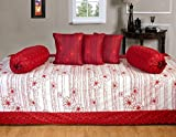 Ab Home Decor 100% Cotton Beautiful Diwan Sets ( Set Of 6 Pieces ),Red