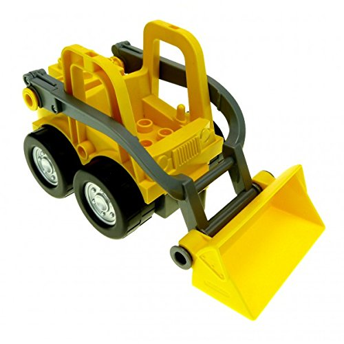 1 x Lego Duplo Fahrzeug gelb grau Frontlader mit Bagger Schaufel lang mit Clip Baustelle Auto 88922 5650