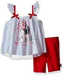 Disney Baby Girls\' Minnie Mouse Bike Short Set with Flutter Sleeves, Red/White, 24 Months