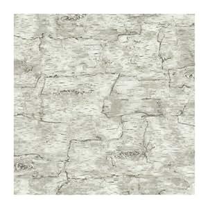 York Wallcoverings LM7987 Lake Forest Lodge Birch Bark Wallpaper, Off White