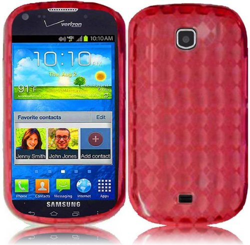 Vmg 2-Item Combo Verizon Samsung Galaxy Stellar 4G I200 Cell Phone Tpu Skin Case Cover - Red Diamond Pattern Design Premium 1-Pc Slim Fitted Glove Sleeve Case W/ Shock & Drop Protection (Protects From Drops; Fits Like A Glove) + Lcd Clear Screen Saver Pro