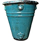 Old World Roman Style Wall Hanging Planter in Teal Cracked Ice Ceramic Finish