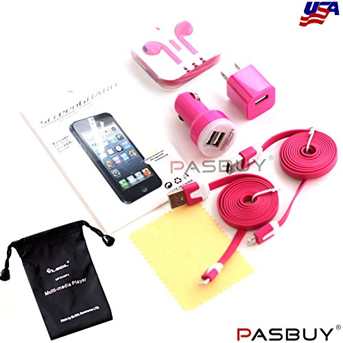 Pasbuy® 1049/3Ft/Hot Pink 6 In 1 Wall & Dual Usb Car Chargers+Earphone+(2) 8 Pin Flat Cables+Lcd Screen For Iphone 5 5S 5C+Free Mp3 Of Sling Bag