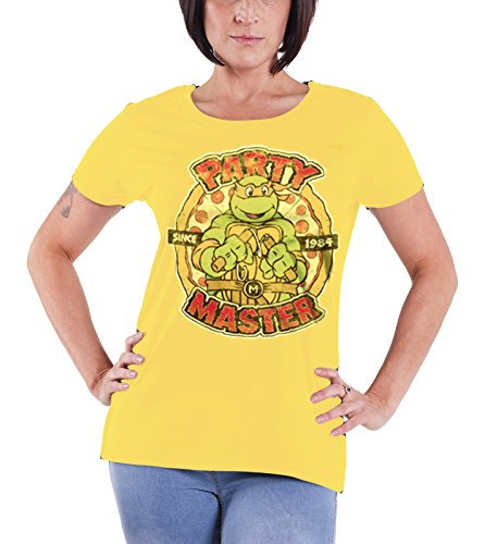 Teenage Mutant Ninja Turtles T Shirt Party Master Official Womens Junior Fit (Yellow Ninja Turtle Shirt compare prices)