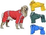 (エムズダイス)M's Dice 大型 中型 犬 用 レインコート 雨具 カッパ 《4カラー3サイズ》 (08.レッド 5XL)