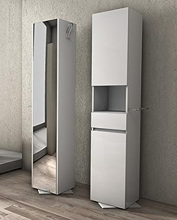 Colonna Girevole da 33x190hx35 bianca con specchio Mobile bagno arredo