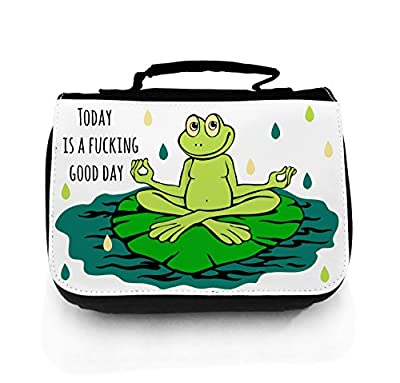 Waschtasche Waschbeutel Kulturbeutel Kosmetiktasche Reisewaschtasche cosmeticbag Yoga Frosch good day wt020