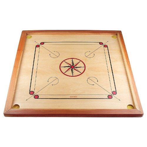 Carrom-Board-Star-Turnier-83-cm-mit-komplettem-Zubehr-1-x-Carrompulver-gratis