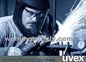 Uvex S8515 Bionic Shield, Black Matte Face Shield And Hard Hat Adapter, Clear Polycarbonate Anti-Fog/Hardcoat Lens