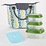 Chicago Insulated Lunch Bag with Fresh Selects Container Set (Blue Leaf Silhouette)